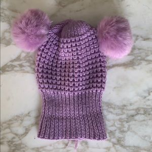 Adorable purple pin pin knit hat baby